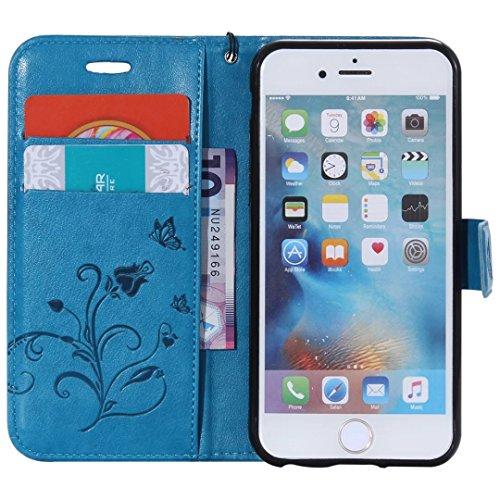 Papillon Fleurs Embossed Retro premium PU Housse en cuir flip magnétique Support Cover Wallet Case Avec poignet main pour iPhone 5 5s SE ( Color : Blue , Size : IPhone 5S SE )
