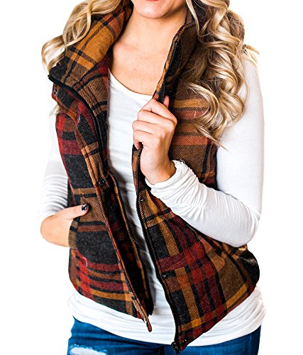Womens Puffer Quilted Plaid Cotton Jacket Vest Fall Warm Slim Sport Coat with Zipper By KunLunMen (Cotton Plaid Blazer)