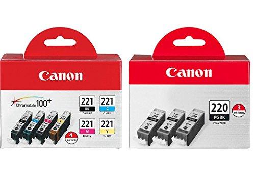 Canon CLI-221 Four-Color Ink Tank Pack + Canon PGI-220 Black Ink Tank 3-Pack Canon Pixma Mx860 Colour