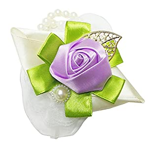 Abbie Home Silk Rose Wrist Corsage with Bow for Prom Party Hand Flower (1, Lavender) 115