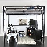 Walker Edison WE Furniture Loft Bunk Bed, Full, Metal Black