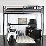 Metal Full Loft Bed, Black