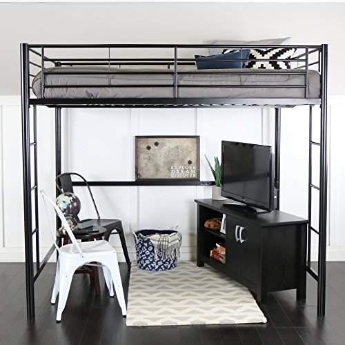 WE Furniture Full Size Metal Loft Bed, Back Loft Style Furniture