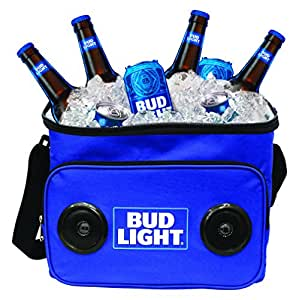 Bud Light Soft Cooler Bag with Built in Bluetooth Speakers – Compatible with all Bluetooth and non-Bluetooth enabled iPhones, smartphones, Tablets, MP3 Players, CD Players, and More – Blue