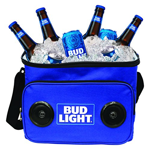 Bud Light Soft Cooler Bluetooth Speaker Portable Travel Cooler with Built in Speakers BudLight Wireless Speaker Cool Ice Pack Cold Beer Stereo for Apple iPhone, Samsung -