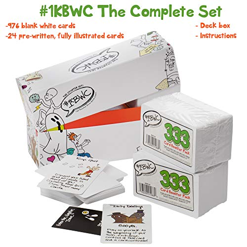 1000 Blank White Cards Game: The Complete Set – Full 1KBWC 1000 Card Set with Deck Box - Create Your Own Party Game of Oddity & Imagination for Adults, Kids & Family Group Board Game