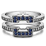 Silver Square Halo Style Ring Guard with Diamonds and Sapphire (0.5 ct. twt.)