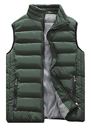 Outerwear Army Men's HOW'ON Jacket Down Quilted Green Vest Classic Lightweight 7FWF0pRq
