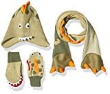 Kidorable Boys' Little Dino Hat Scarf Mittens Set, Green, Large