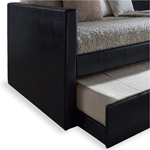 Bowery Hill Twin Upholstered Leather Daybed with Trundle