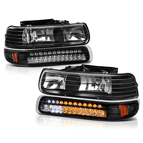 VIPMOTOZ For 1999-2002 Chevy Silverado 1500 2500 3500 Headlights - Matte Black Housing, LED Daytime Running Lamp Strips, Driver and Passenger Side