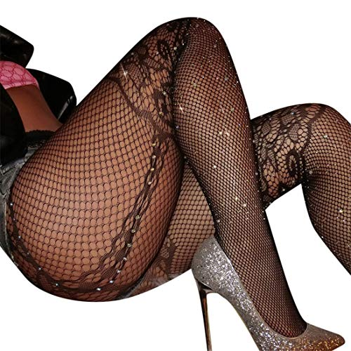 jiumoji Women Sexy Glitter Rhinestone Fishnet Mesh Stockings High Waist Tights Pretty Pantyhose (-A, Free Size)