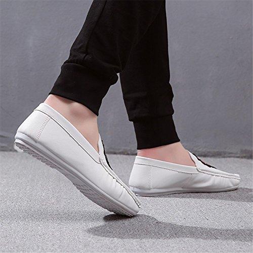 Carrera de PU HUAN Zapatos Verano Ons Negro Blanco Para Informal Slip y Oficina Libre Los Mocasines Aire y Al Hombres SII65q