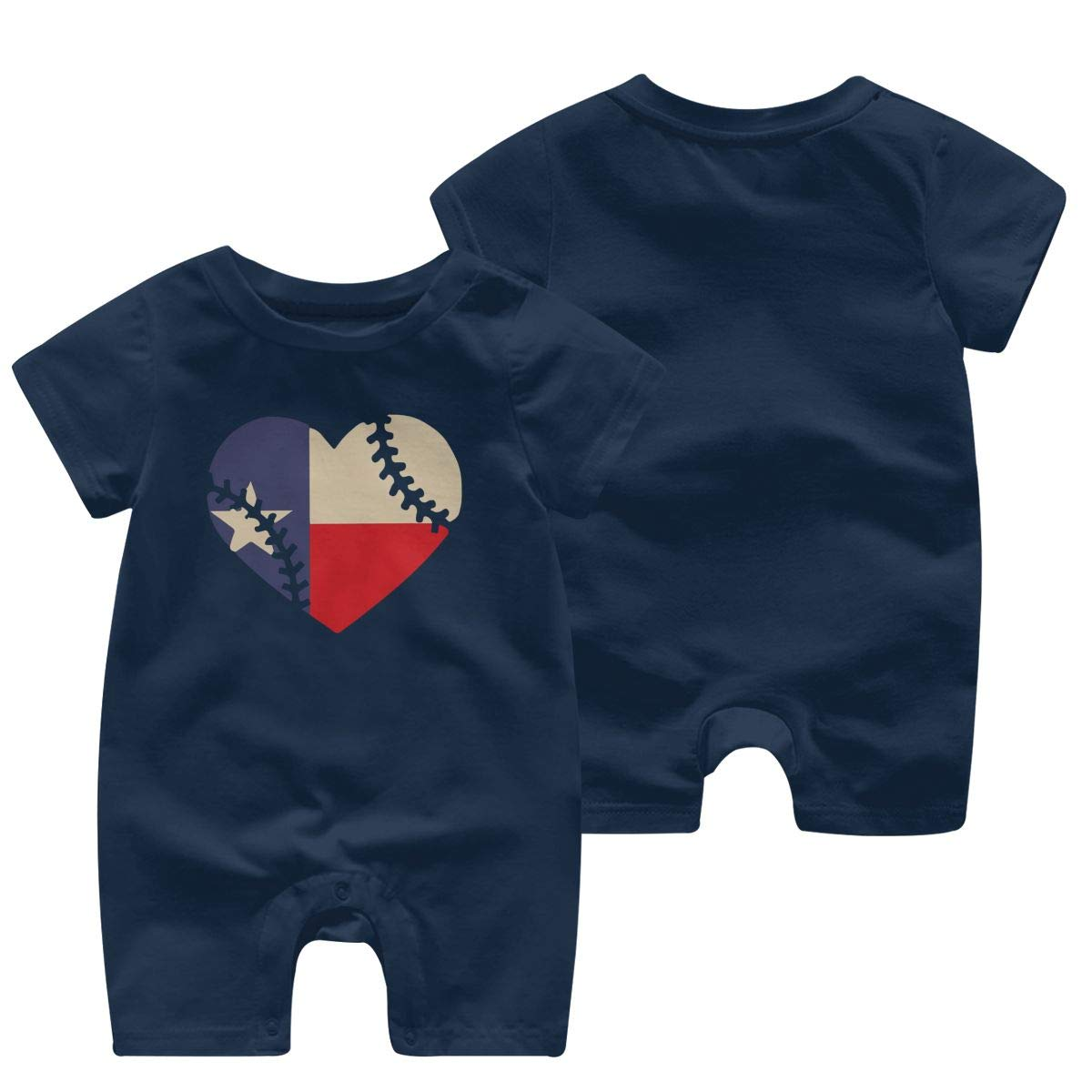 Texas State Flag Baseball Lace Baby Girl Short Sleeve Bodysuit Organic Coverall 0-24 Months