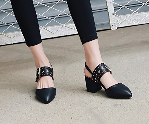 Charm Foot Womens Sandalo Con Cinturino Chic A Punta Tacco Medio Nero