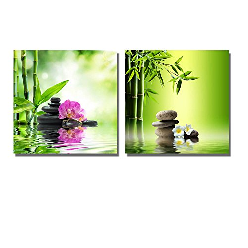 Spa Background with Bamboo and Stones on Water Wall Decor ation x 2 Panels