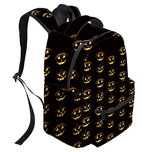 Unisex Durable School Backpack- Halloween Pumpkin Face Lightweight Oxford Fabric School Bags with Reflective Strip Daypack Laptop Bags -
