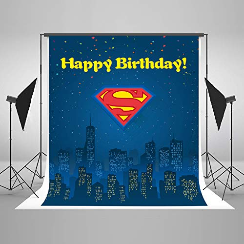 Happy Birthday Backdrop Photography for Boy 5x7 Blue Background Superman Banner Photo Backrops 1st Birthday Party with Kids Name Backgrounds Cloth No Wrinkle