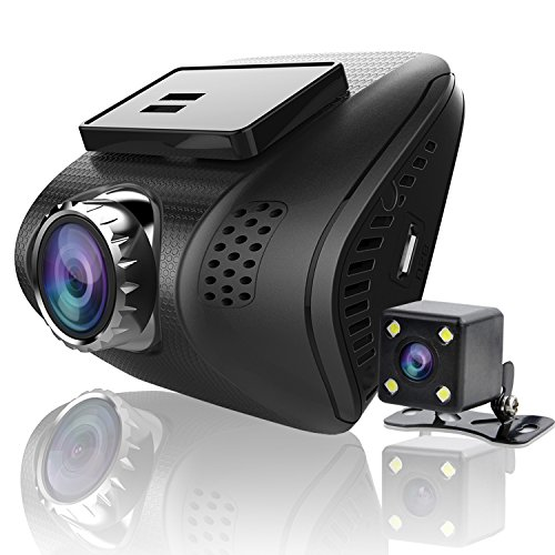 Ampulla Cruiser X Dual Dash Cam, Super HD 1296P Front & 720P Rear Dash Cam 170°& 160°Ultra Wide Angle Dashboard Camera G-Sensor WDR LDWS
