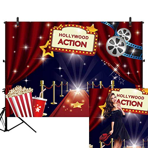 Allenjoy 7x5ft Hollywood Movie Night Party Photography Backdrop Movie Premiere Red Carpet Celebrity Happy Birthday Banner Background Dress-up and Awards Night Ceremony Portraits Photo Booth Props
