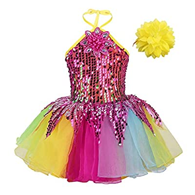 dPois Kids Girls' Jazz Ballet Performance One-Shoulder Shiny Sequins Tutu Dress with Hairclip Wristband and Belt 4Pcs Set: Clothing