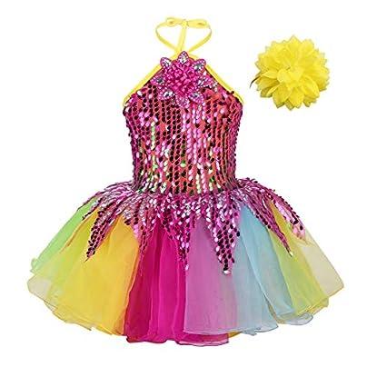 Alvivi Kids Girls 2PCS Colorful Sequins Ballet Dance Tutu Dress Halter Adjustable Leotard Dress with Wristband Set Estimated Price £8.95 - £15.95 -