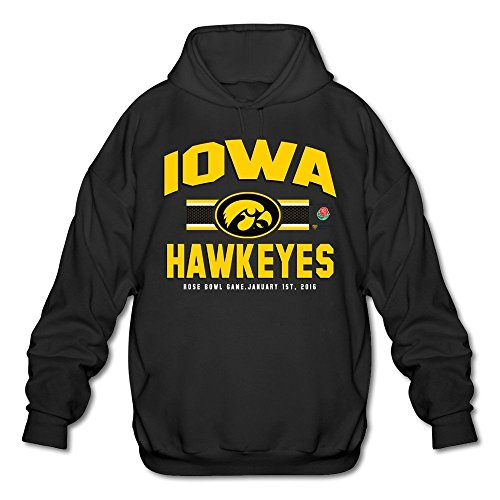 Agongda Man IOWA HAWKEYES 2016 ROSE BOWL BOUND 3RD DOWN Sweatshirt Black (Bound Bowl Hoody)