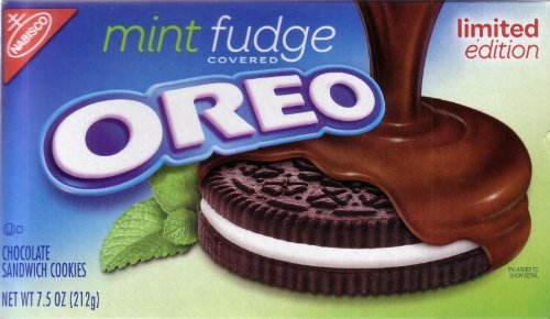 Oreo Mint Fudge Covered Limited Edition Chocolate Sandwich Cookies 7.5 oz (Pack of - Chocolate Fudge Mint