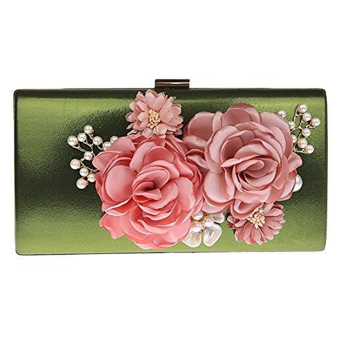 Evening Beaded Women's TOOKY Clutch Green Pearl Satin Hand Bag Flower ZPAtqtCgwx