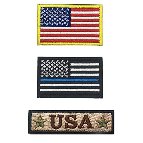 YOROZUCERY Tactical USA Flag Patch Embrodiered Military American Velcro Patches 3 Piece for Caps, Bags, Backpacks, Clothes, Uniforms