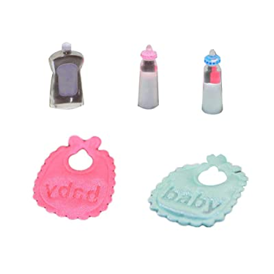 NarutoSak Doll House Accessories, Miniature Doll House Kids Girl Toy Play House Baby Bibs Milk Bottle Lotion Gift, Doll House Furnishings, Christmas Birthday Gift for Girl: Kitchen & Dining