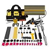 Mookis Paintless Dent Repair Tool Kit, 77PCS Dent Puller Kit with Slider Gold Lifter, Bridge Puller& Glue Gun for Car Hail Damage Repair and Car Dent Removal