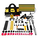 Mookis Paintless Dent Repair Tools, 77PCS PDR Tools with Slider Hammer Lifter Dent Lifter, Bridge Puller Set, LED Line Board, Glue Stricks, Pro Pulling Tabs Kit