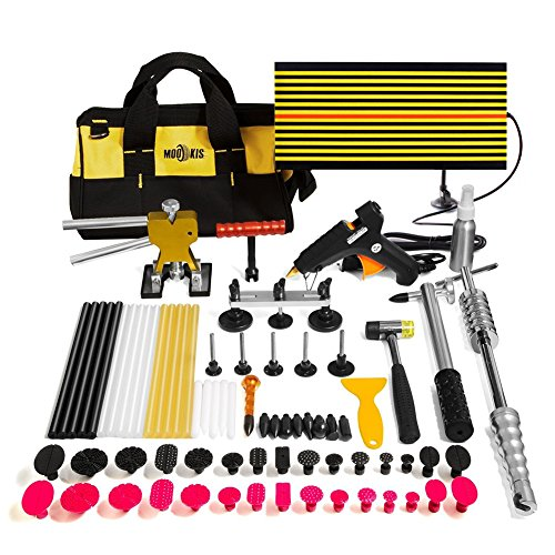 Mookis Paintless Dent Repair Tools, 77PCS Dent Removal Tools with Slider Hammer Lifter Dent Lifter, Bridge Puller Set, LED Line Board, Glue Stricks, Pro Pulling Tabs Kit (Best Paintless Dent Removal)