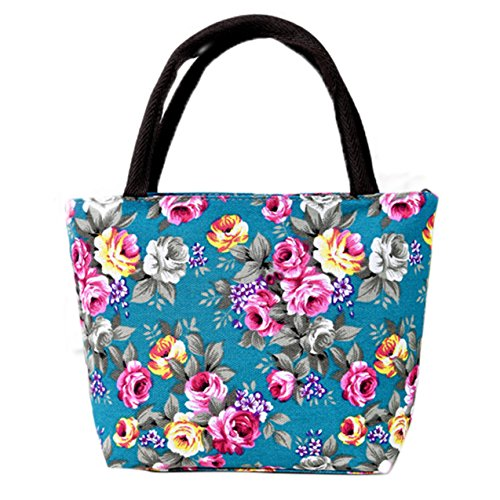 Flyingsky durable Canvas stylish bright-coloured flower hand bag for grandma mom Green Peony