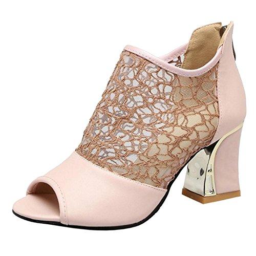 Toe Femmes Ete Cheville Bottes pink Peep RAZAMAZA tOHAwcqSq
