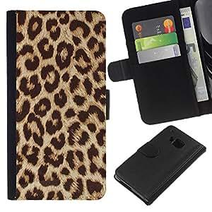 EJOY---La carpeta del tirón la caja de cuero de alta calidad de la PU Caso protector / HTC One M7 / --Patrón de oro de Brown Animal