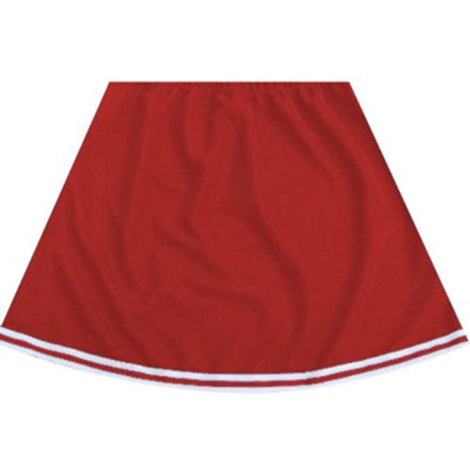 Falda roja de animadora, con borde blanco, disfraz para adulto ...