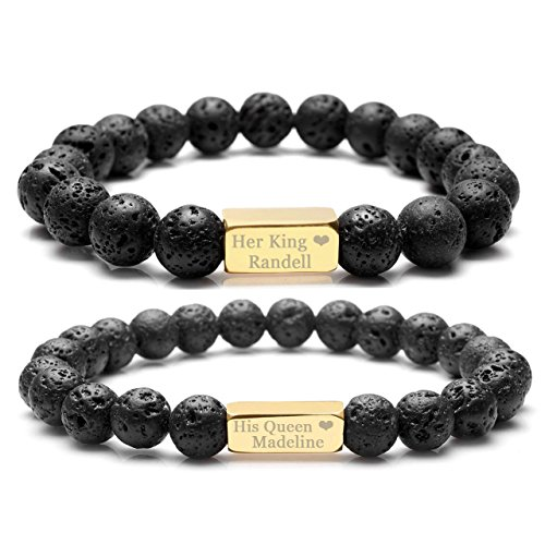 Top Plaza Customize Your Couple Lover His Queen Her King Bracelets - AromatHerapy Essential Oil Diffuser Lava Rock Stone Him And Her Elastic Bracelets For Personalized Name,Message - King Plaza