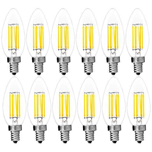 12-Pack LED Candelabra Bulb, Luxrite, 6W (60W Equivalent), 5000K Bright White, E12 LED Filament Bulb, 650 Lumens, Torpedo Tip, UL Listed, E12 Candelabra Base LED