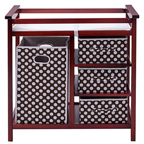 Costzon Baby Changing Table, Infant Diaper Changing Table Organization, Diaper Storage Nursery Station with Hamper and 3 Baskets (Cherry+Brown)