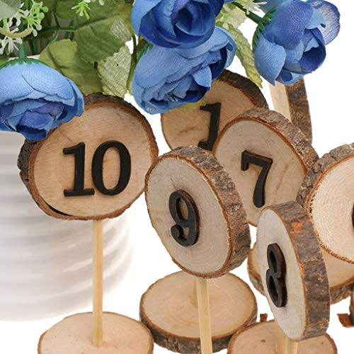 BROSCO Natural Wooden 1-10 Table Numbers Sticks Freestanding Wedding Party Supplier