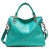 Paste Lady Soft Cowhide Leather Vintage Shoulder Bag Handbag Tote Top-handle Bag Big Capacity Casual Simple Style Fit 14 in Laptop Blue