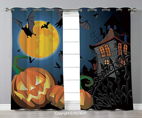 Grommet Blackout Window Curtains Drapes [ Halloween Decorations,Gothic Halloween Haunted House Party Theme Decor Trick or Treat for Kids,Multi ] for Living Room Bedroom Dorm Room Classroom Kitchen Caf]()