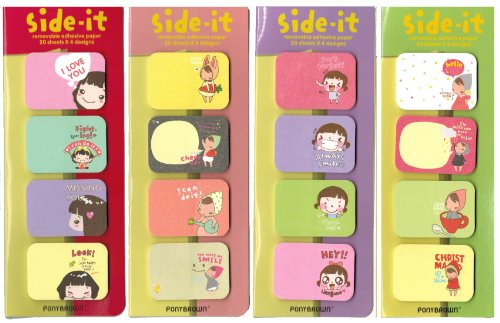 LSW Set of 320 Side It Page Flags and Sticky Notes [4 booklets each with 4 styles, 20 sheets each]