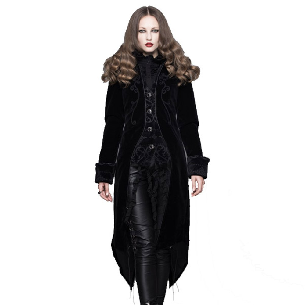 Womens Sultry Pirate Lady Black And Wine Velvet Captain Costume Jacket Coat