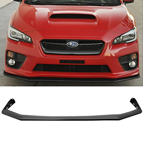 Front Bumper Lip Fits 2015-2017 Subaru WRX STI | V-Limited Style Black PP Front Lip Finisher Under Chin Spoiler Add On by IKON MOTORSPORTS | 2016