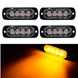 emergency auto light - XT AUTO 4-LED Amber Waterproof Emergency Beacon Flash Caution Strobe Light Bar Surface Mount 16 different flashing Car SUV Pickup Truck Van SUV ATV UTV Jeep 4-pack