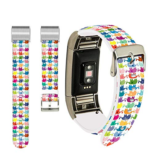 - Elephants Band for Fitbit Charge 3 SE,Ecute Replacement Band Fitbit Charge 3 Leather Bands Strap for Fitbit Charge 3/Charge 3 SE -Colorful Elephants Bands