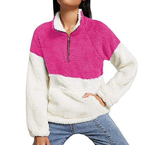 Automne Tops Xinantime femme hiver d'hiver shirts Pour Peluche Blouse T Chemise Rose d'automne Femmes en Tops vif wft41qtB